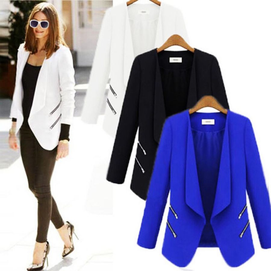 Hot Women Pure Color Blazer Long Sleeve Double Breasted Slim