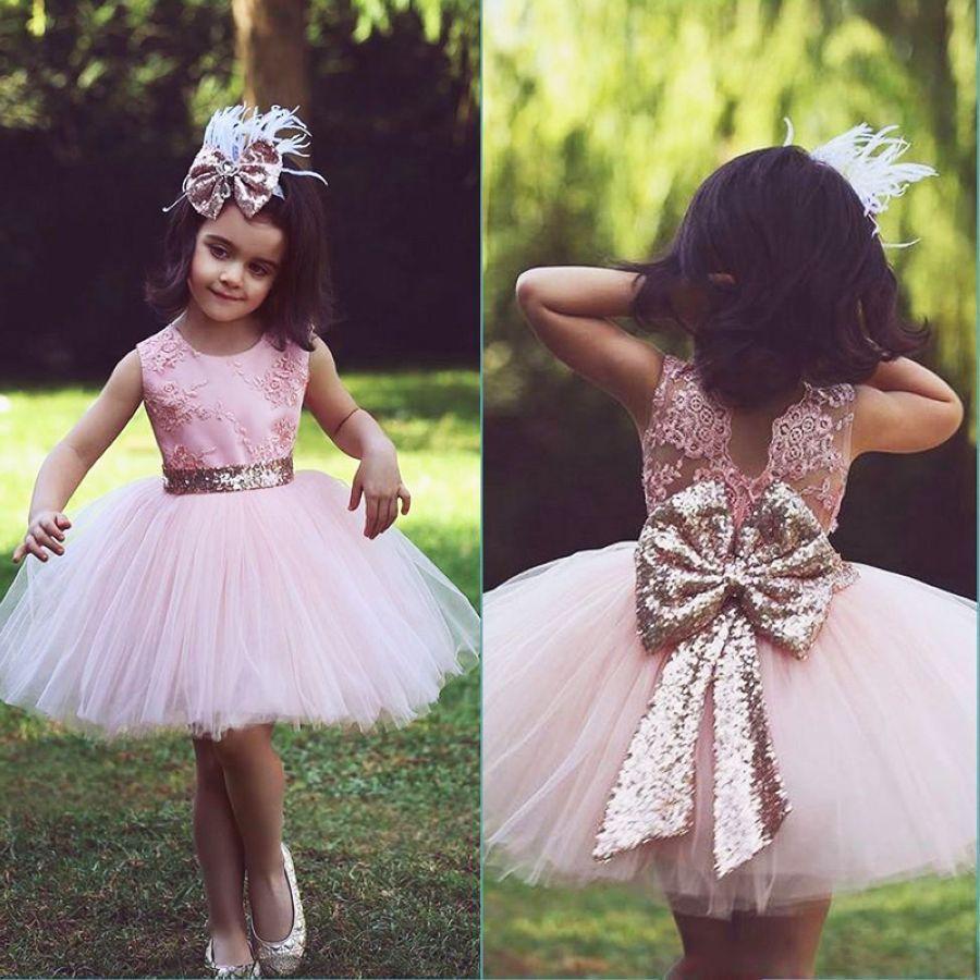Lakeydra Pink Tulle Flower Girl Dresses For Weddings Sleeveless O-Neck