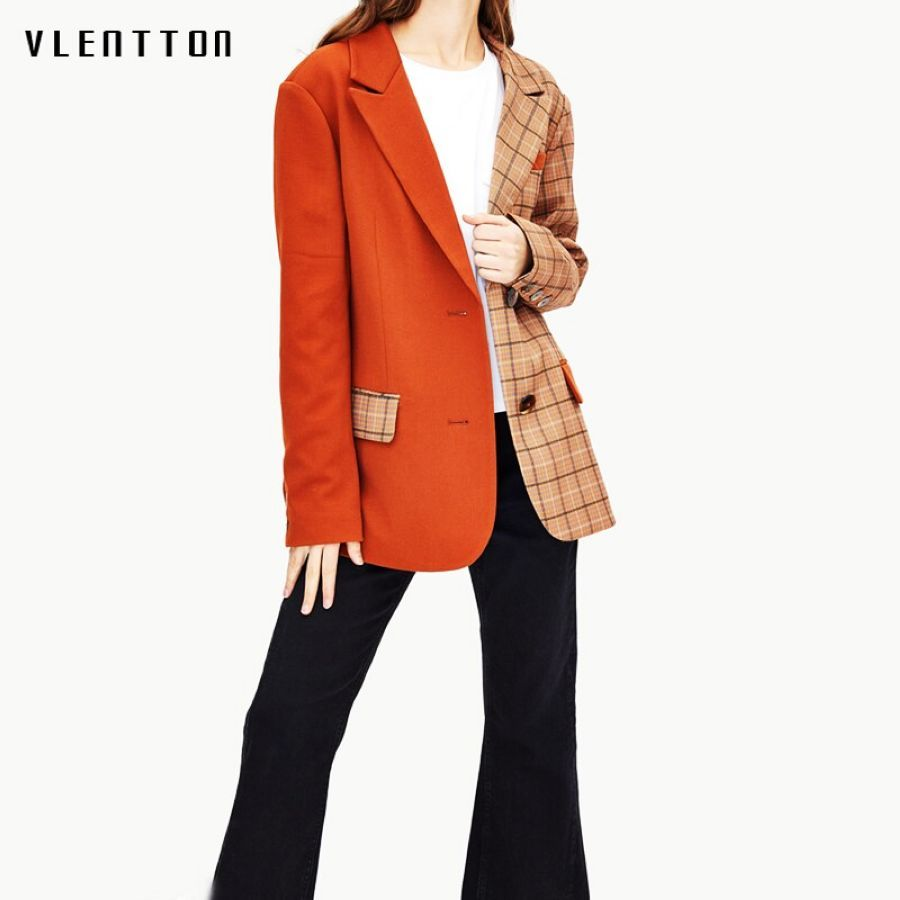 2019 New Vintage Female Jacket Blazer Single Breasted Plaid Patchwork