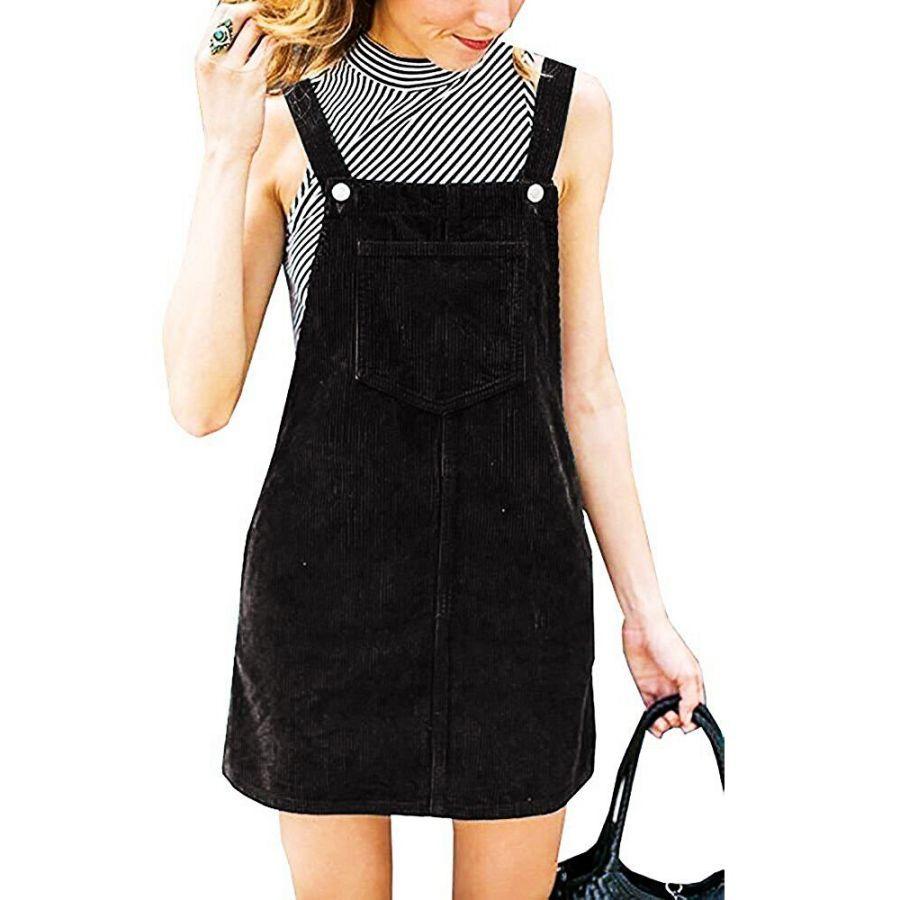2019 New Corduroy Pocket Dresses Spring Summer Vintage Strap Dress