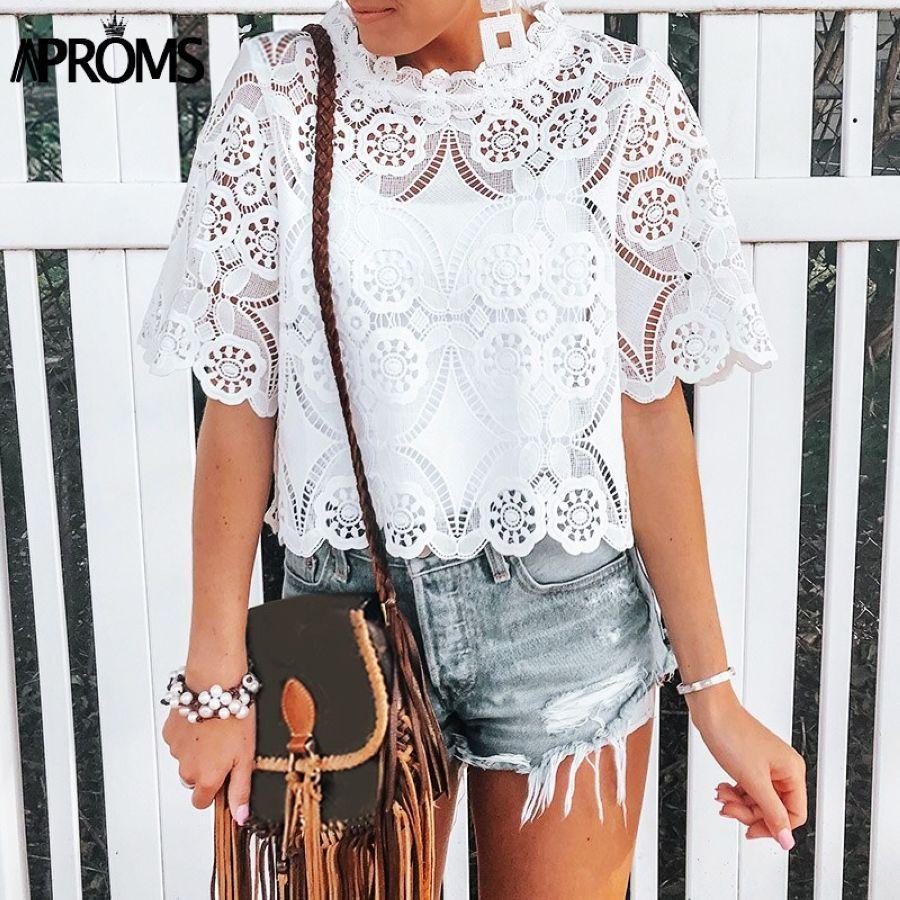 Elegant Crochet Lace Embroidery Blouse Shirt 2019 Summer White Crop