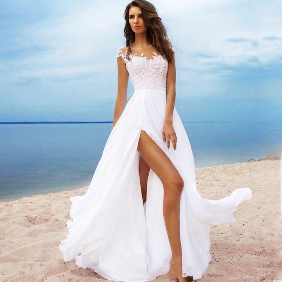 Vestido de boda de playa 2019 scoop a-line apliques flo