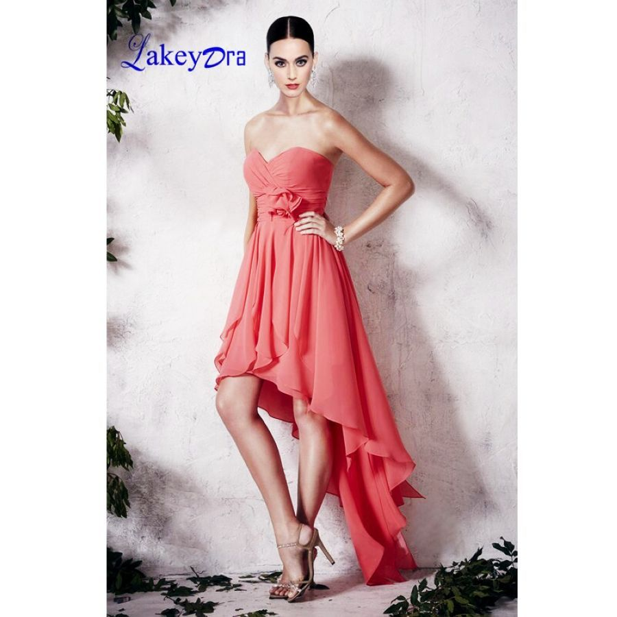 Lakeydra A-Line Bridesmaid Dresses Sweetheart Neck Chiffon Sleeveless Backless Hi-Lo