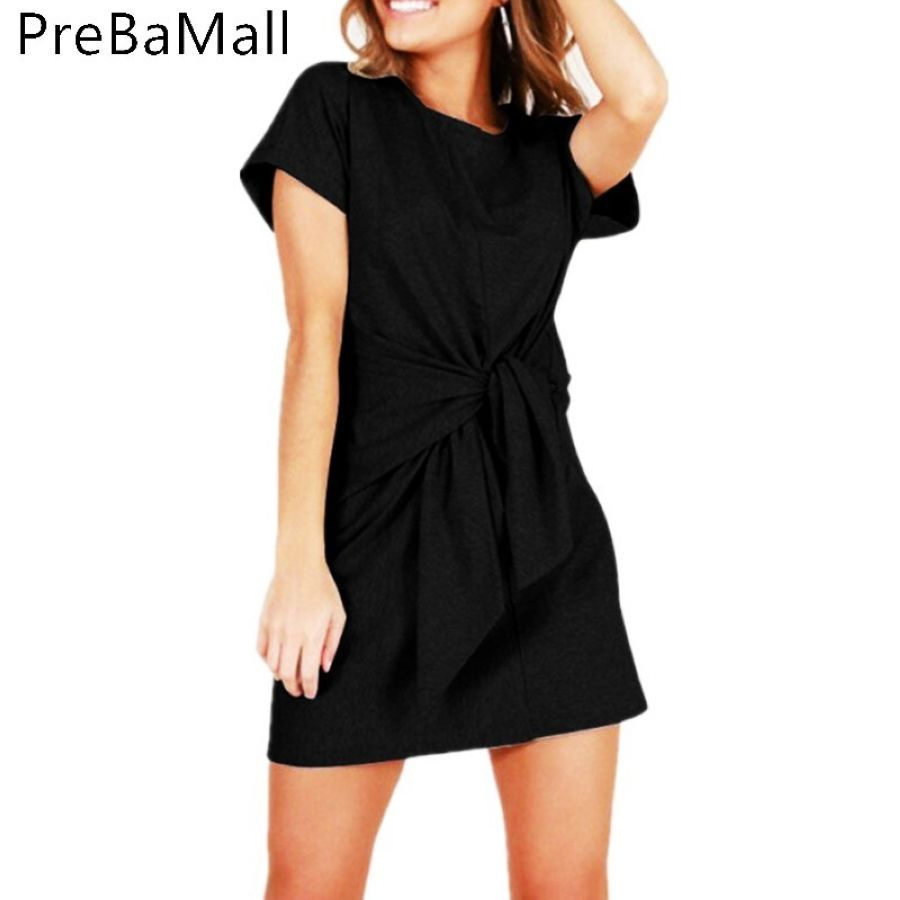 2019 Elegant Chic Womens Loose Dress Casual Front Tie Short