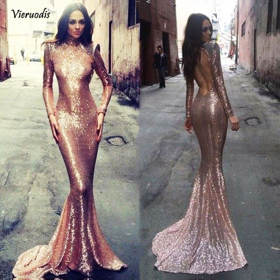 Special Occasion Dresses Scalloped Neckline Long Sleeves Crystal Beaded Champagne