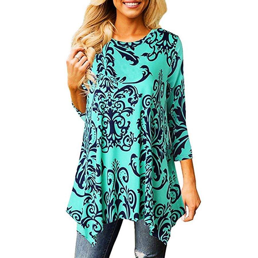 Casual Print Vintage T Shirt Women Loose O-Neck Plus Size