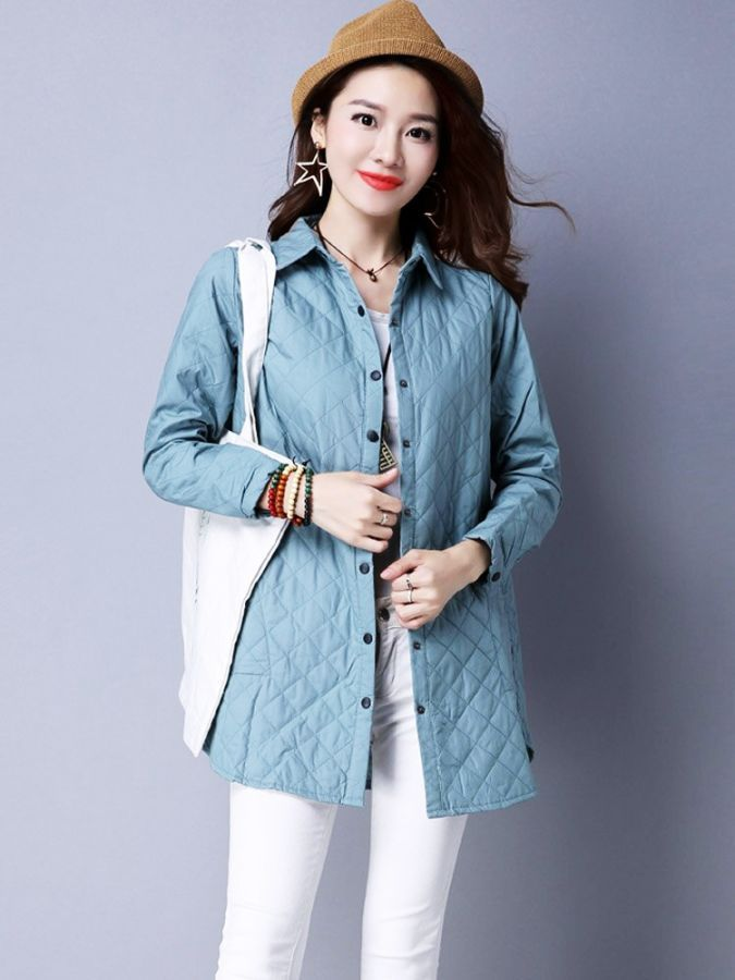 2019 New Cotton Coat Woman Winter Solid Color Parker Elegant