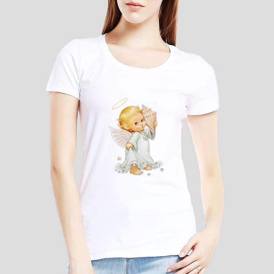 Angel Oversize Customize Print Tshirt Woman Large Size Solid Color