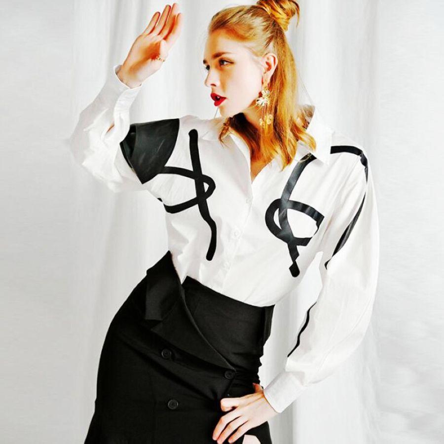 Sondr impresión geométrica de las mujeres camisa blusa
