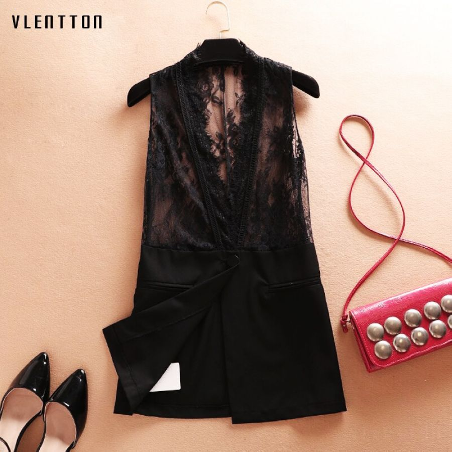 2019 New Lace Womens Vest Waistcoat V-Neck Sleeveless Office Coat