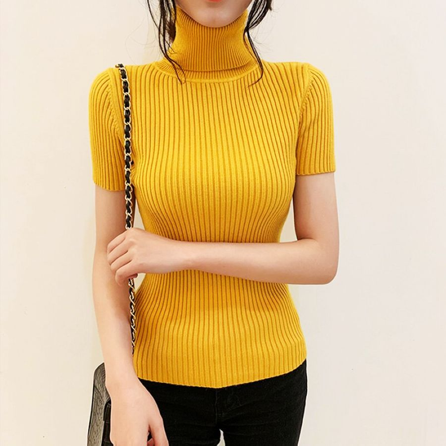 2019 Fashion Womens Short-Sleeved Sweaters Women Slim Knitted Tops Turtleneck