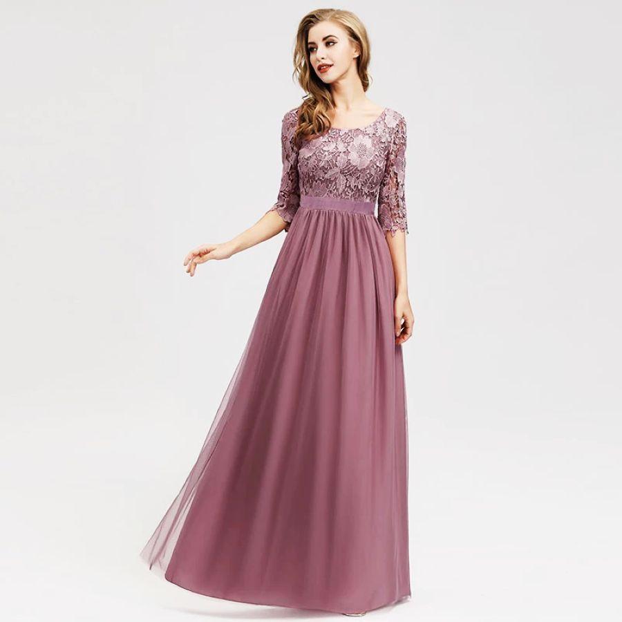 Lace Bridesmaid Dresses Long Ever Pretty Appliques A-Line O-Neck Hollow