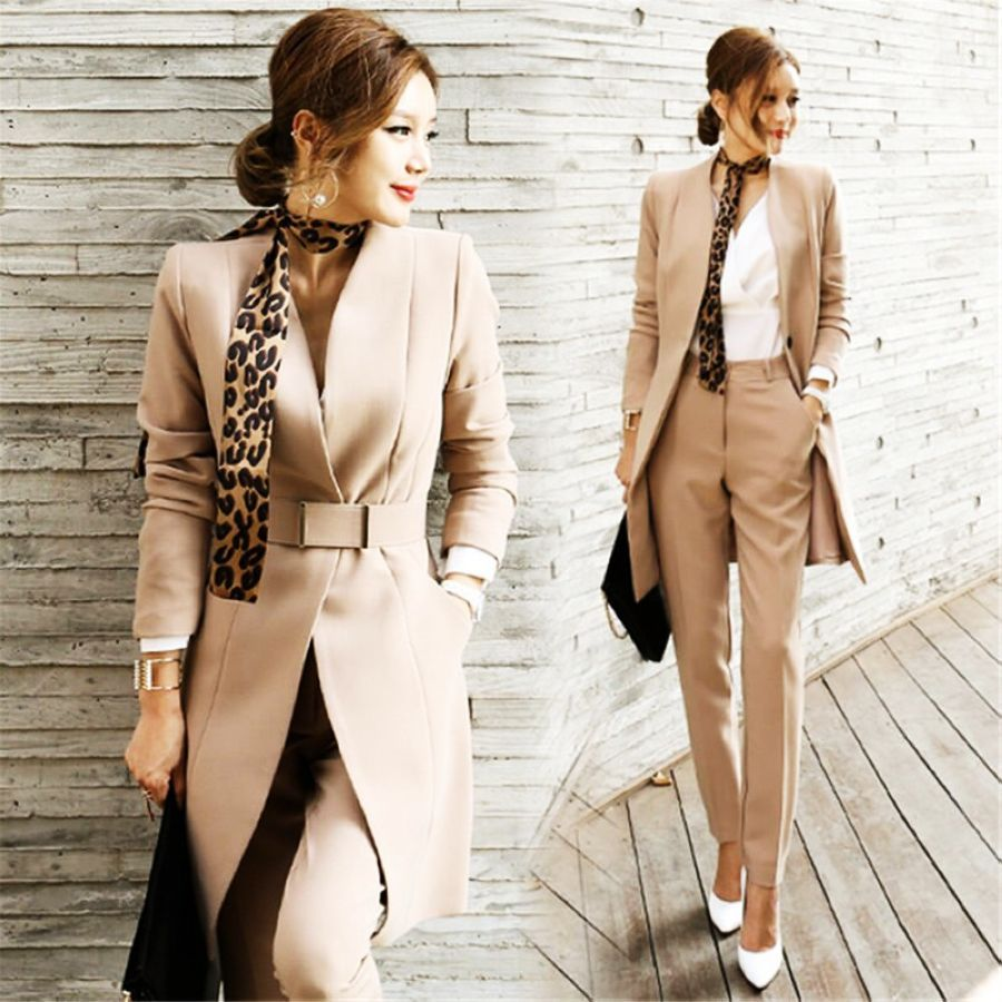 2019 Business Ladies Women Two Piece Outfits Formal Ol Style