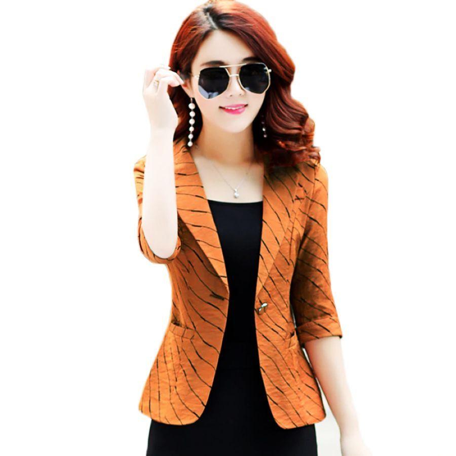 Autumn Tops Women Slim Blazers Seven-Quarter Sleeve Stripe Casual Female