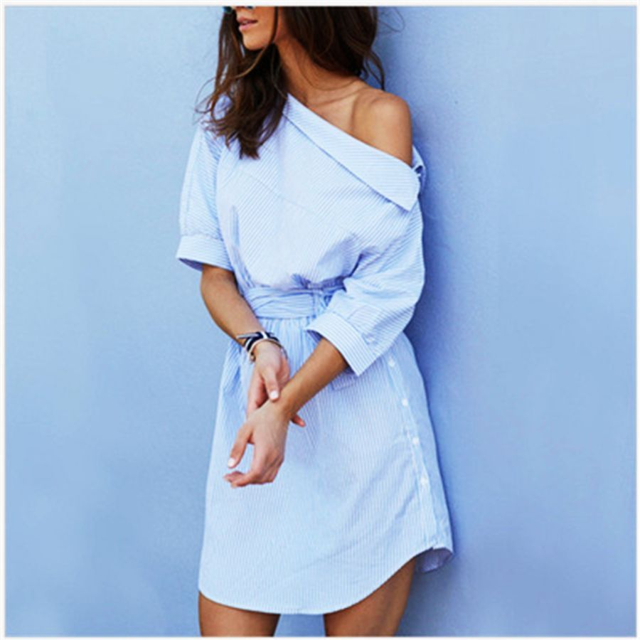 Summer Women Dress Blue Striped Shirt Short Mini Dress Side