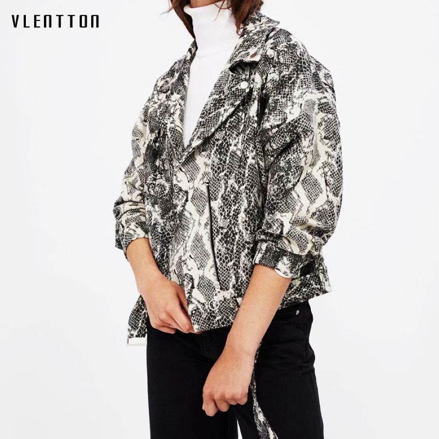 2019 New Snake Print Womens Jackets Fashion Short Female Motor