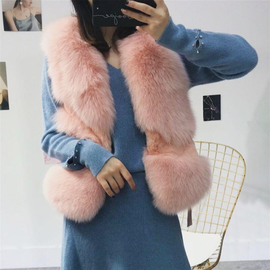 2019 New Fashion S-Xl Imported Whole Fox Fur Waistcoat Women