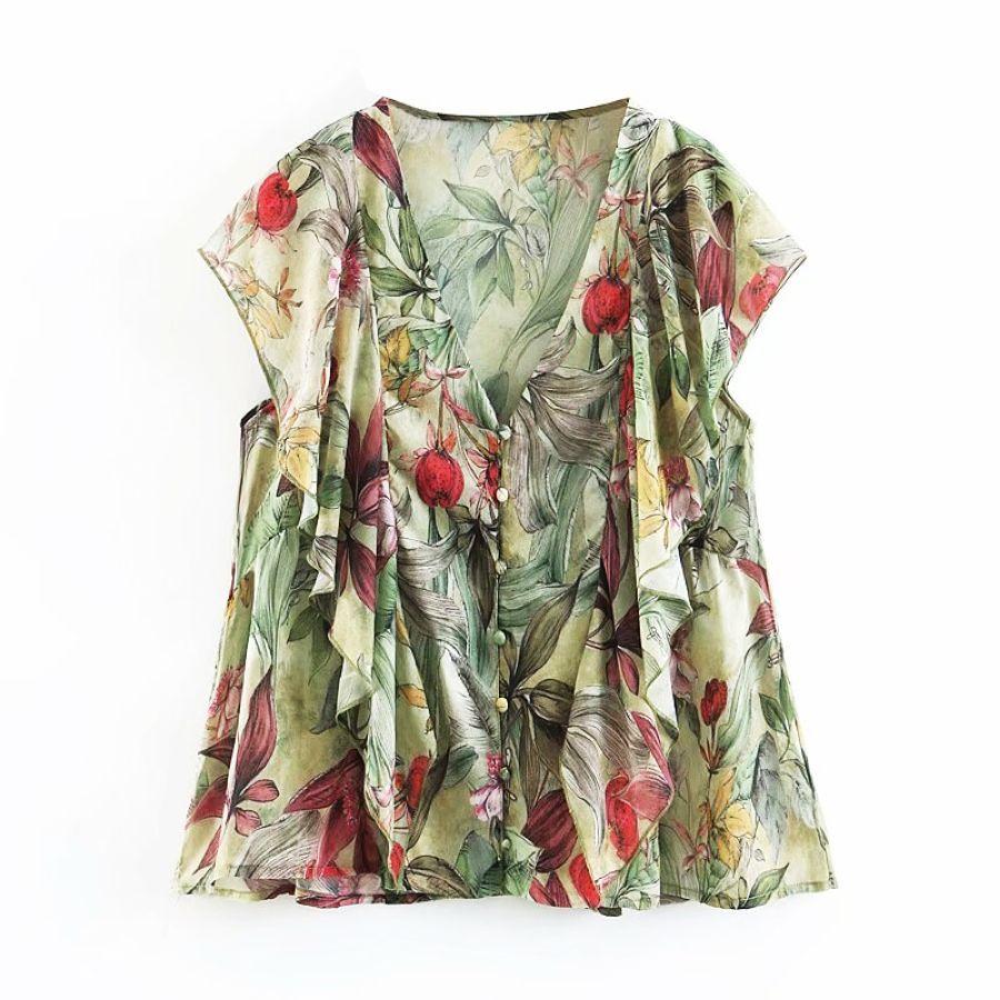 Chiffon Women Shirt V-Neck Floral Blouses Summer Sleeve