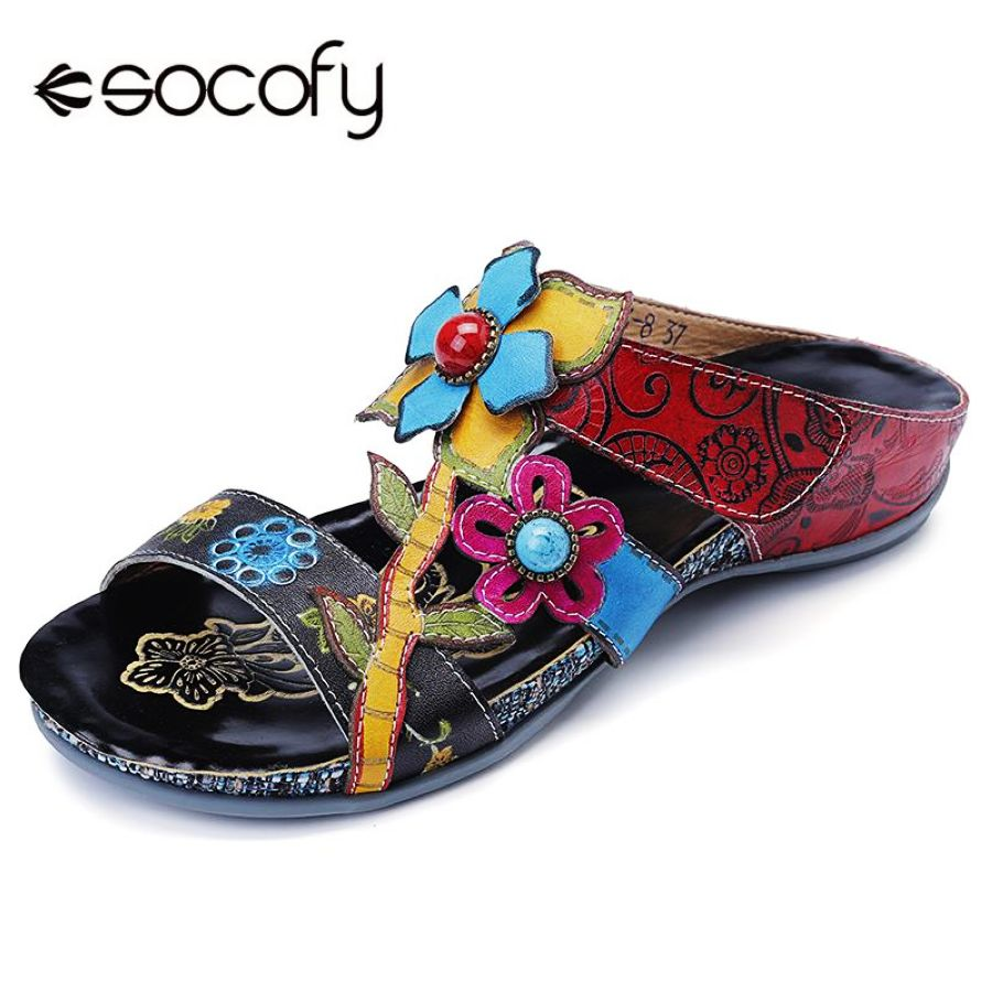 SOCOFY Bohemia Genuine Leather Splicing Hand Painted Fl