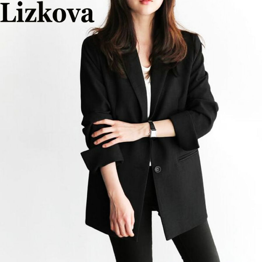 2019 Spring Autumn Women Black Blazer Office Lady Blazer Mujer