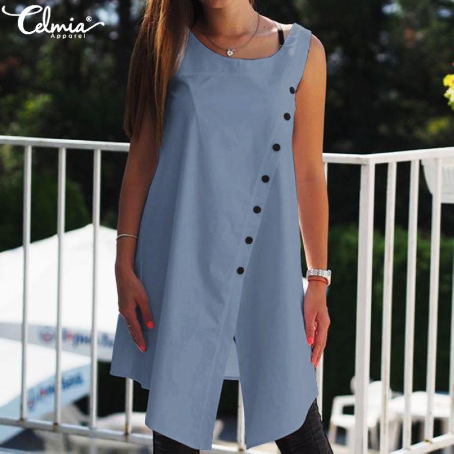 2019 Celmia Vintage Blouses Women Asymmetrical Tunic Tops Summer Sleeveless