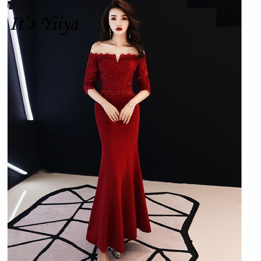 Its Yiiya Prom Gowns Plus Size Beading Wine Red Lace