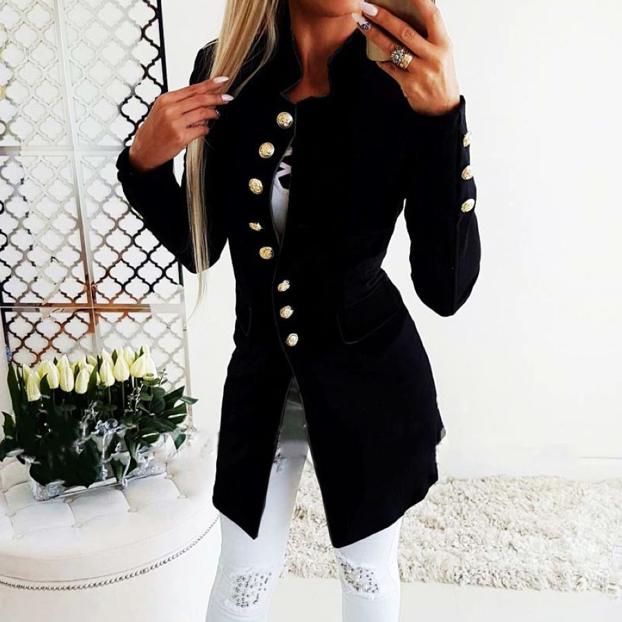 2019 Autumn Winter Long Blazer Women Button Blazer Suit Women