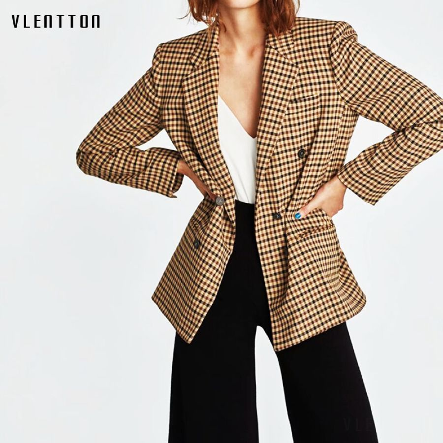 2019 New Vintage Plaid Long Blazer Women Long Sleeve Double