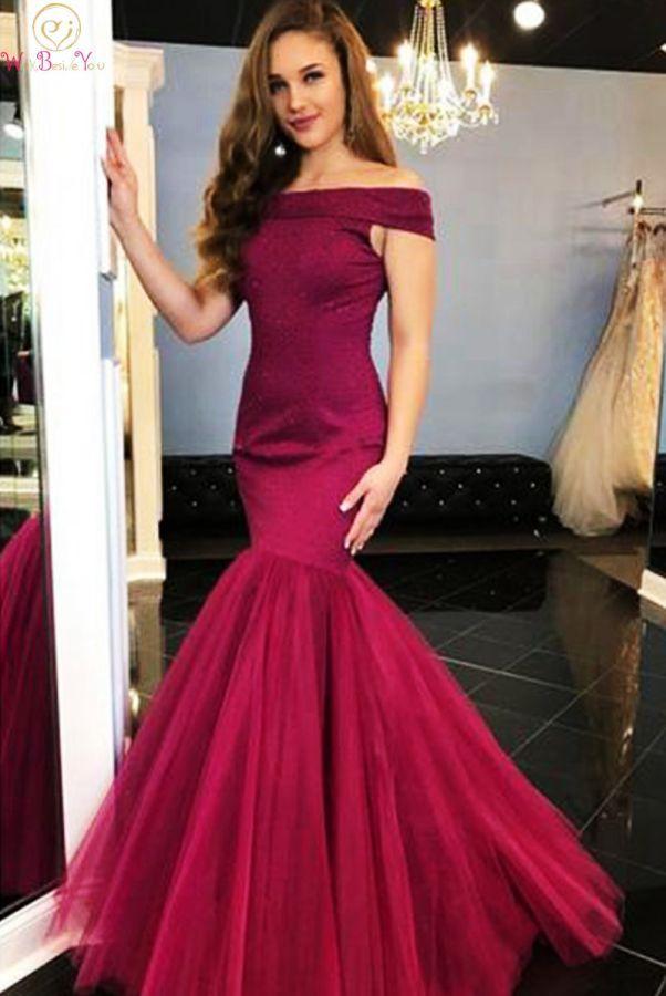 Vestidos de noche de cuello barco borgoña 2019 de moda