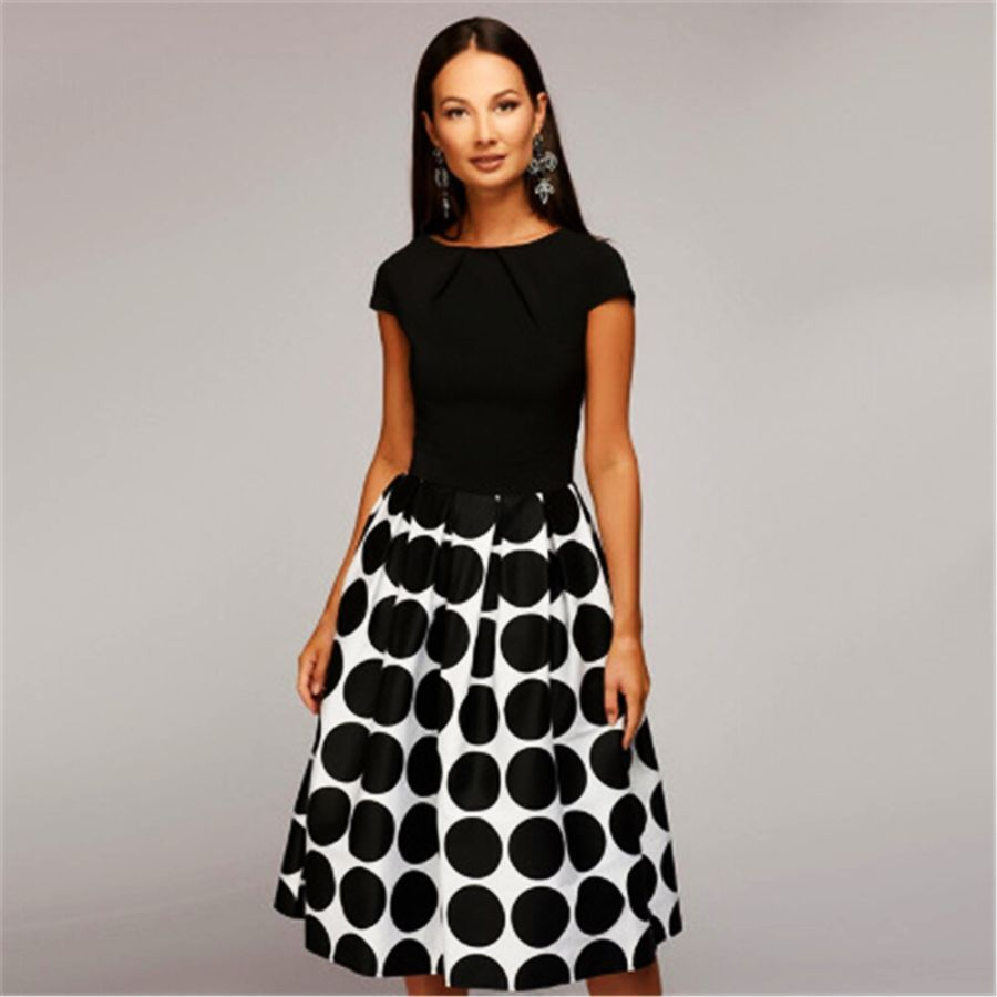 Vintage Women Wave Point Dress Short Sleeve Patchwork A-Line Short