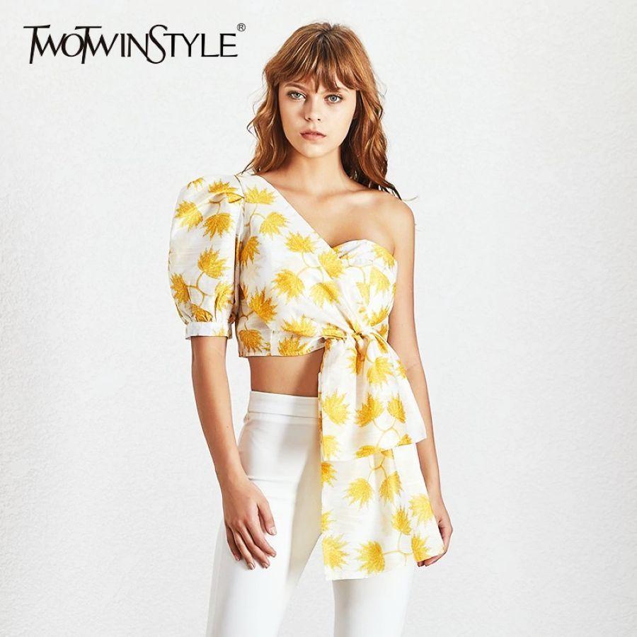 Casual Print Shirt For Women Puff Sleeve Off Shoulder Irregular