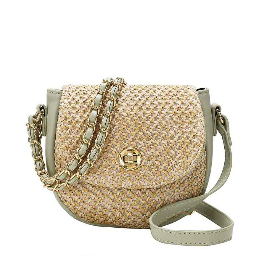 Summer Ladies Straw Bag Pu Fur Woven Stitching Chain Shoulder