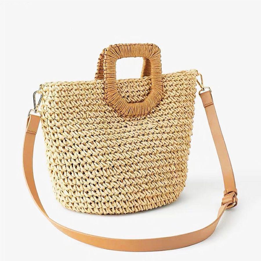 Women Summer Straw Bag Hand Made Rattan Shoulder Bag Boho