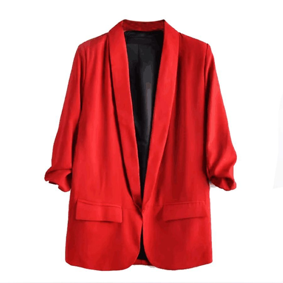 2019 Summer Three Quarter Sleeve Thin Blazer Jacket Solid Color