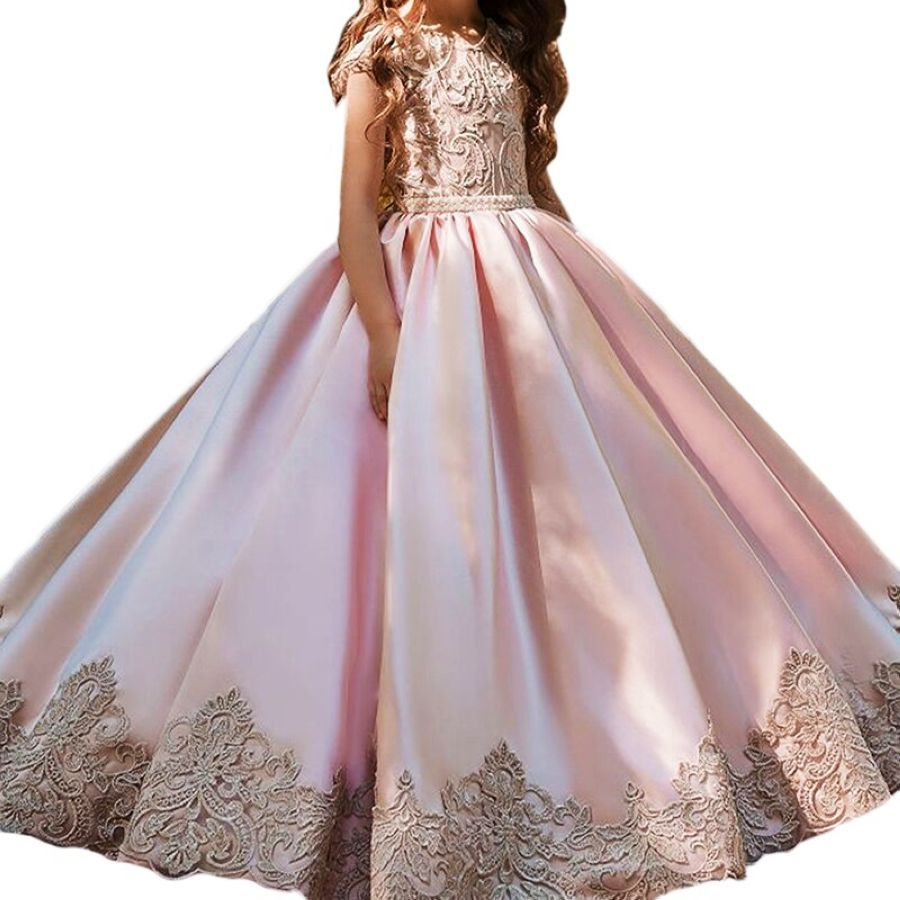 Jewel Cap Sleeves First Communion Dresses Pink Satin With Lace