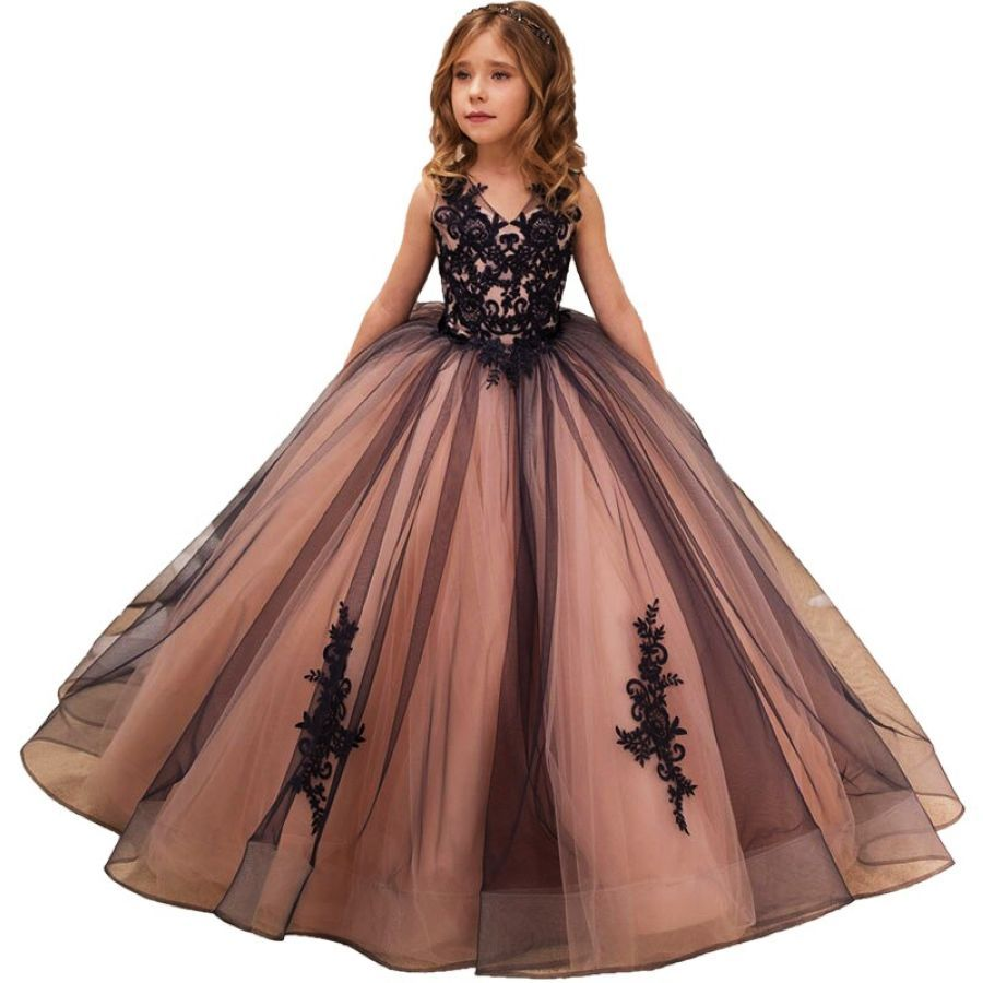 Lace Tulle Flower Girl Dresses For Weddings Christmas Holiday Party