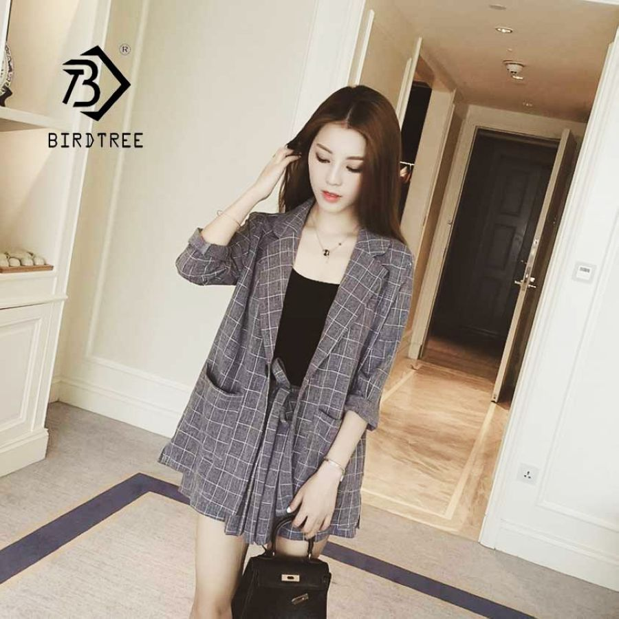 2019 Summer Casual Plaid Short Pant Suits 2 Piece Set