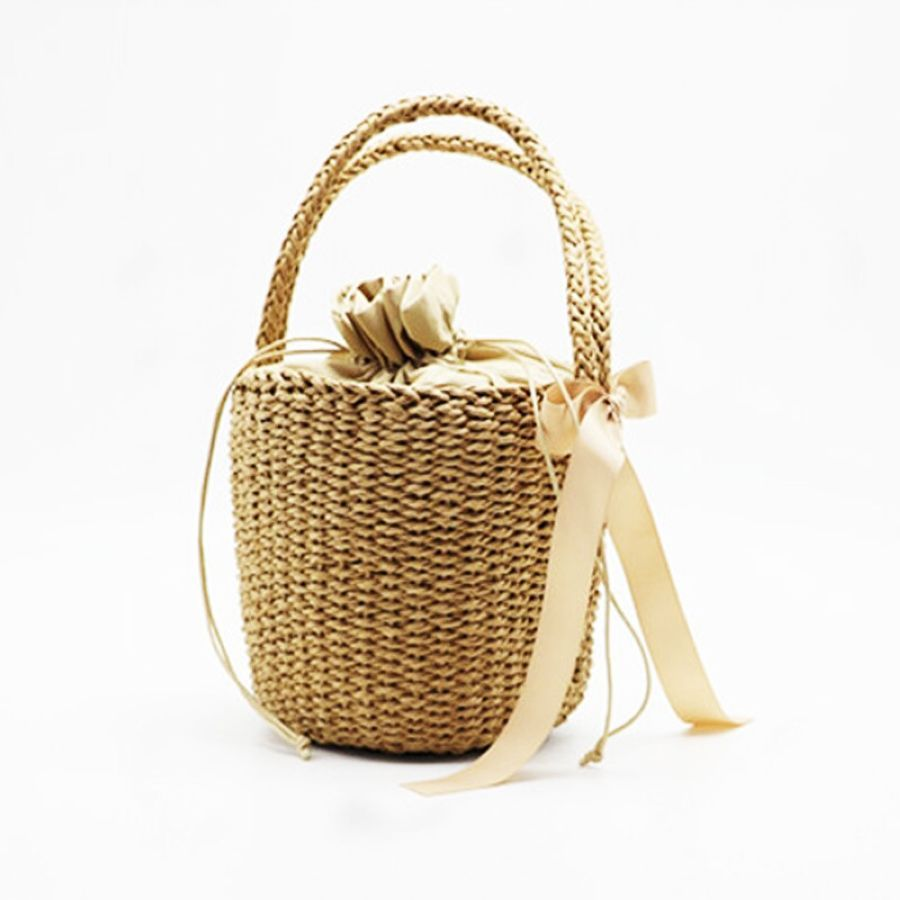 Fashion Womens Handbags Hand-Woven Rattan Ribbon Decora