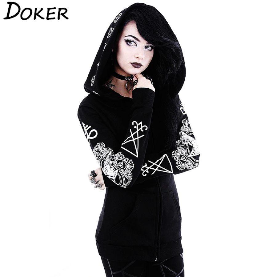 5xl Gothic Punk Print Hoodies Sweatshirts Women Long Sleeve Black