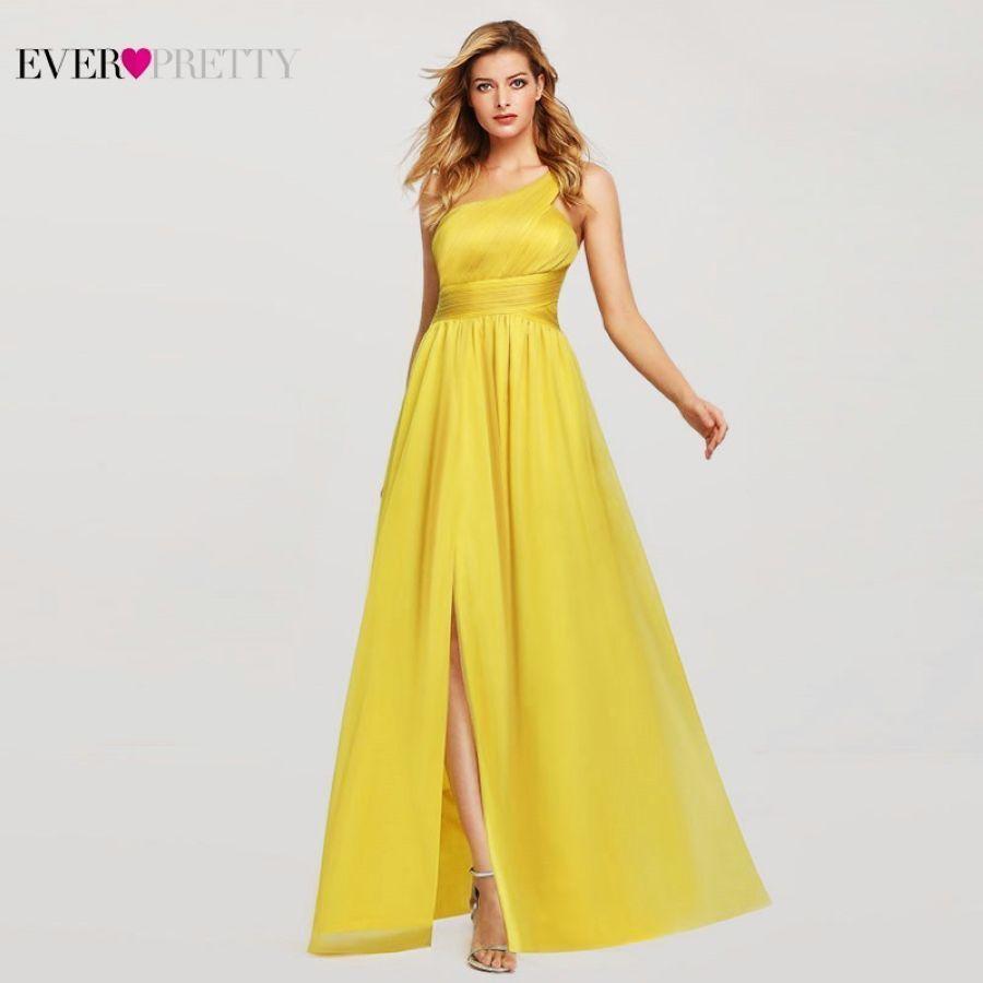 Yellow Fashion Bridesmaid Dresses Long Ever Pretty A-Line One-Shoulder Sleeveless