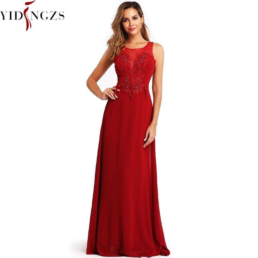 Yidingzs Chiffon Formal Brimdesmaid Dress See-Through Appliques Beading Long Wedding