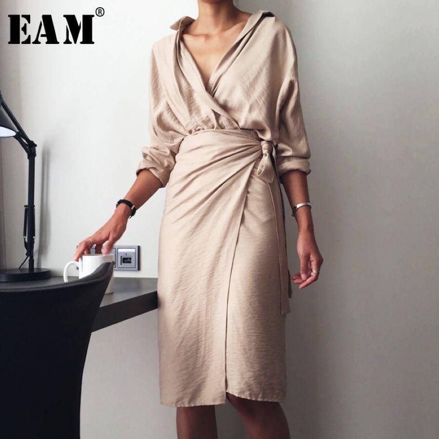 2019 New Autumn Winter V-Neck Long Sleeve Waist Bandage Loose