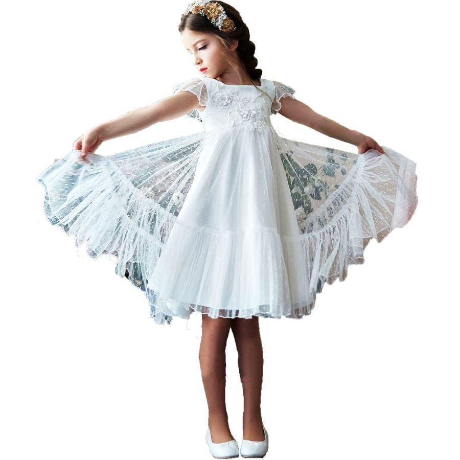 Vintage Pink Flower Girl Dresses For Wedding Kids Party Dress