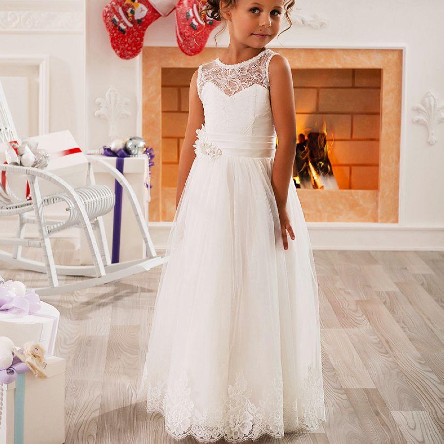 Jewel Sleeveless Lace A Line Little Kids Lovely Flower Girls