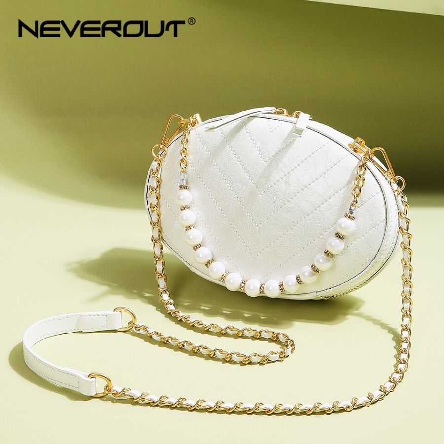 Neverout Pearl Chain Handbag For Women Leather Crossbod