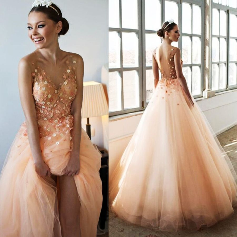 Lakeydra Beads Prom Dress Tulle Deep V-Neck Sleeveless With Appliques