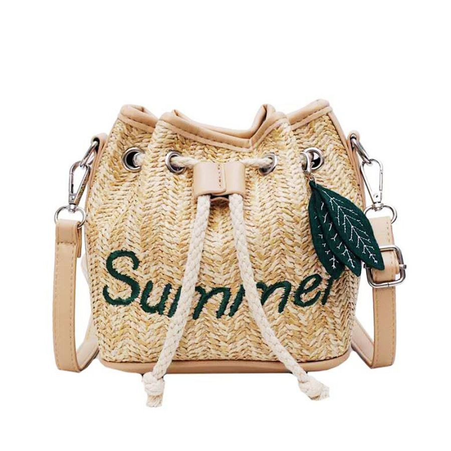 Summer Ladies Shoulder Bags Woven Pu Stitching Straw Bag Fashion