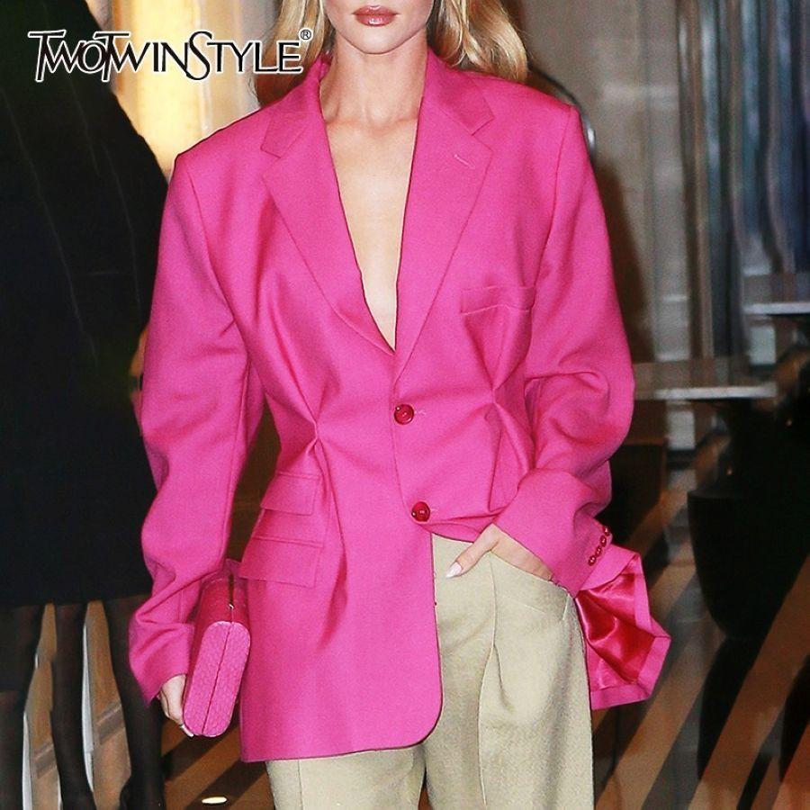 Summer Ol Solid Blazer For Women Lapel Collar Long Sleeve
