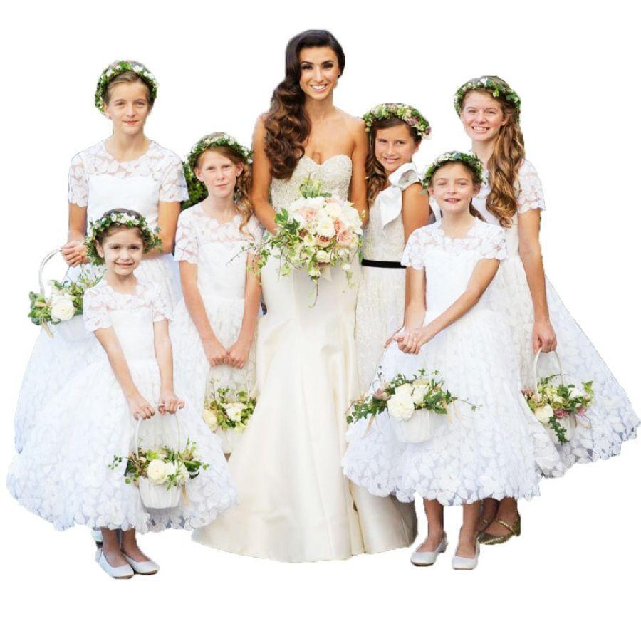White Little Bride Dresses Elegant Girls Kids Ball Gowns Vestido