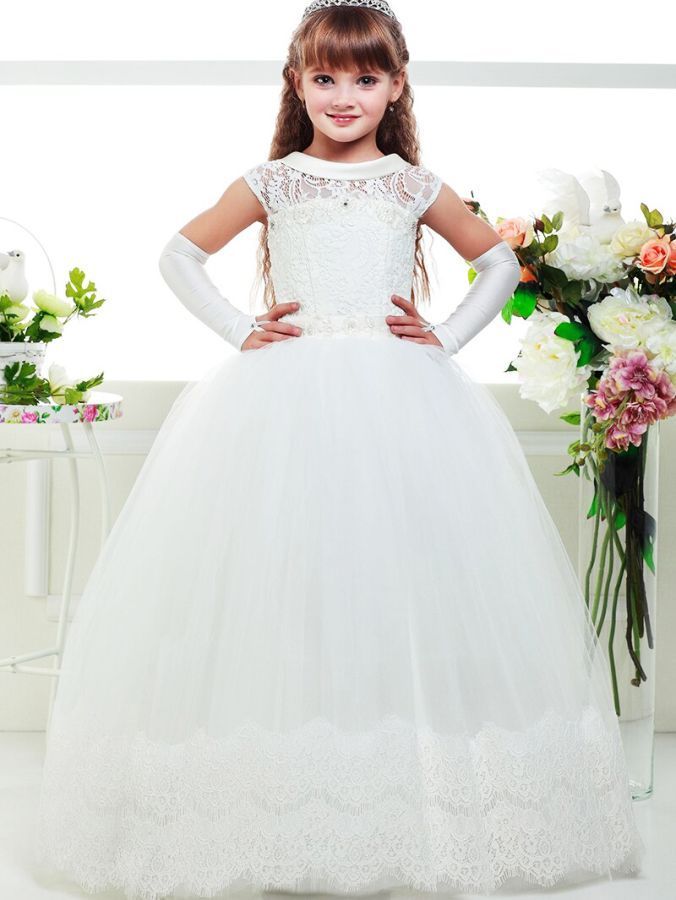 Three Quarter Sleeves Lace Fancy Flower Girls Dress Kids Children